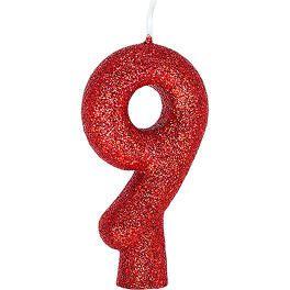 Vela Numeral Cintilante - vermelha - Nº 9