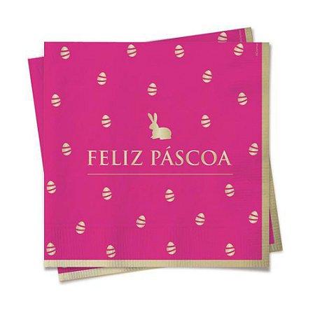 Guardanapo de papel - Feliz páscoa - Rosa