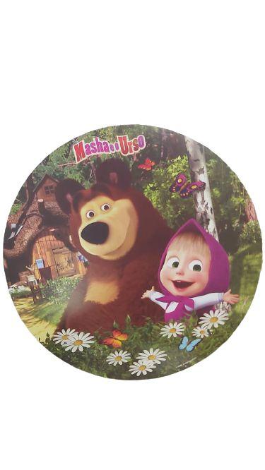 Enfeite redondo impresso Masha e o Urso