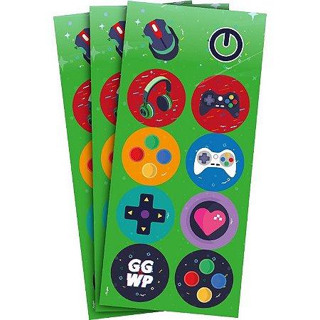 Adesivo Redondo - Games - 30 unidades