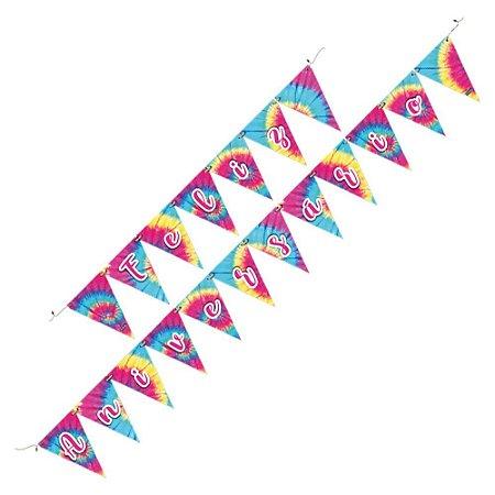 Faixa Feliz Aniversário - Tie Dye