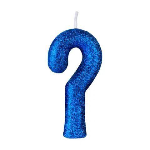 Vela Numeral Cintilante - Azul - interrogação