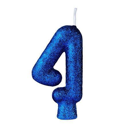 Vela Numeral Cintilante - Azul - Nº 4