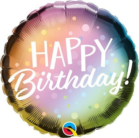 Balão metalizado - Happy Birthday - 46 cm