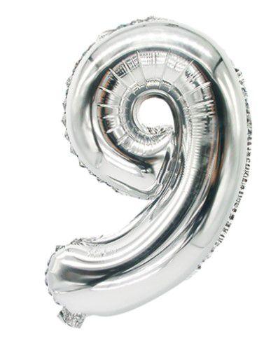 Balão Metalizado 70cm - Prata - Número 9
