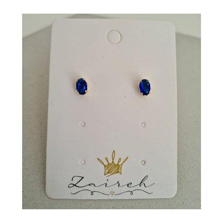 Brinco Redondo Zirconia Azul Bic Banhado Em Ouro 18K