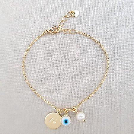 Pulseira Medalha Fé Olho Grego Proteção Banhada em Ouro 18k
