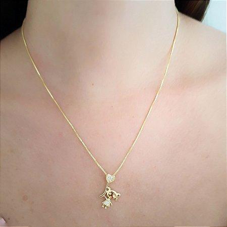 Colar Menina Filha Com Micro Zirconias Banhado Em Ouro 18k