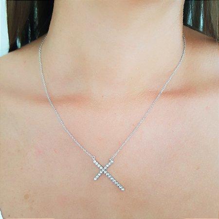 Colar De Prata Pingente Cruz Cravejado Com Zirconias