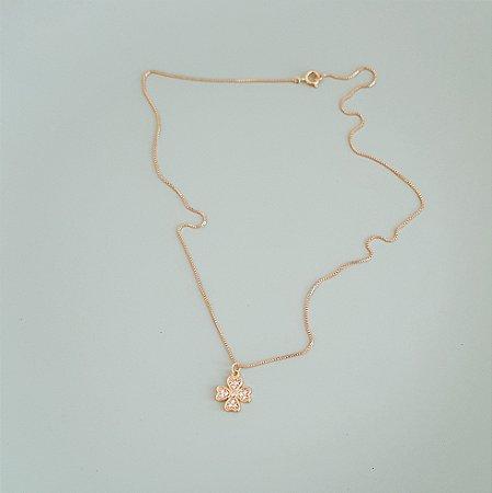 Colar Trevo Sorte Coração Com Micro Zirconias Banhado Em Ouro 18k
