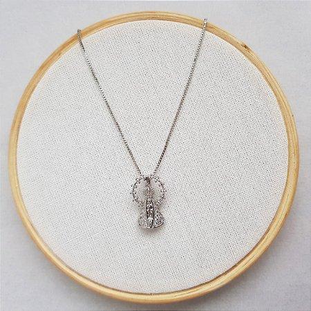 Colar Nossa Senhora Aparecida Micro Zirconias Banhado Em Ródio Branco