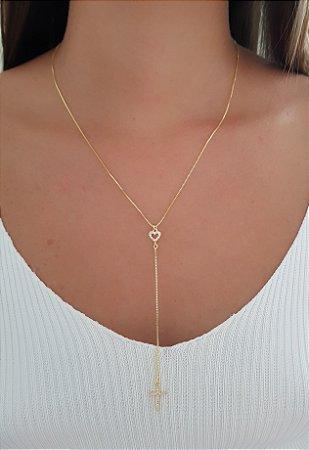 Colar Gravatinha Coração Cruz Com Micro Zirconia Banhado Em Ouro 18k