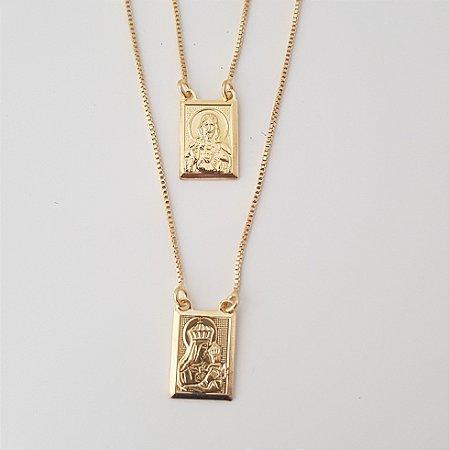 Escapulário Nossa Senhora Do Carmo Banhado Em Ouro 18k