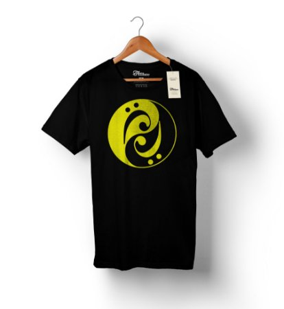 Camiseta – Bass Yin Yang – Preta - Estampa Amarela