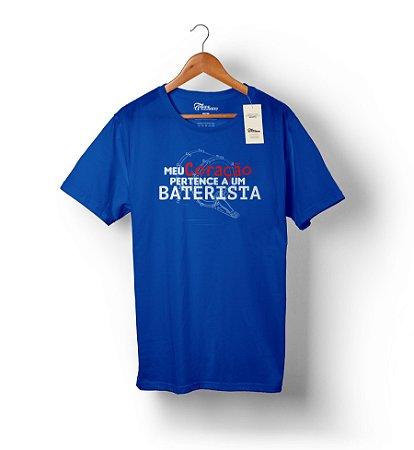 Camiseta – Meu Coração Pertence a um Baterisra – Azul Royal