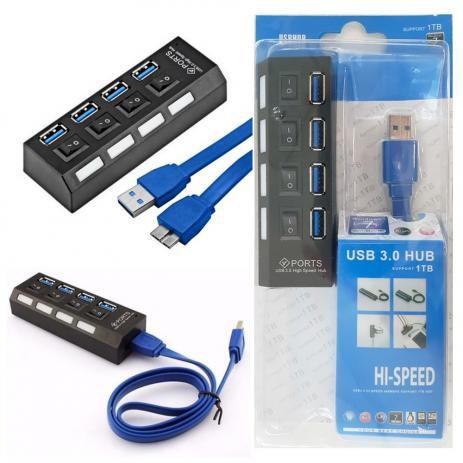 Hub Usb Exbom 4 portas USB 3.0