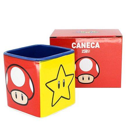 Caneca Cubo Jogo Nintendo Super Mario Bros Mushroom Estrela