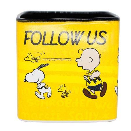 Caneca Cubo Snoopy Follow Us Turma Peanuts Charlie Brown