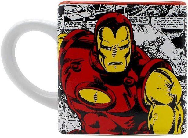 Caneca Cubo Homem De Ferro Marvel Disney 300 Ml