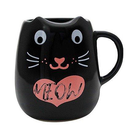 Caneca 3d Preta Formato Gatinho Meow Animal Veterinária