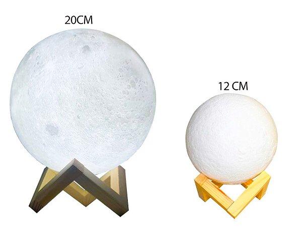 Luminária Lua 3D, recarregável a bateria, sem fio