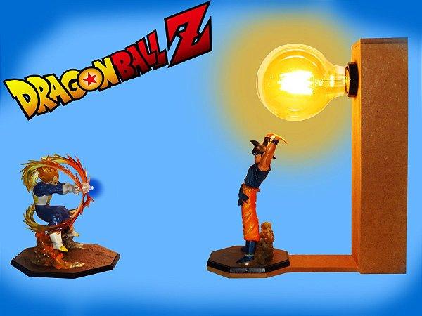 Luminária Goku Dragon Ball, Genki dama, Luminária Vegeta a Bateria