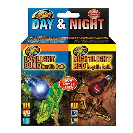 Combo Lâmpadas Para Répteis Zoo Med Dia Noite
