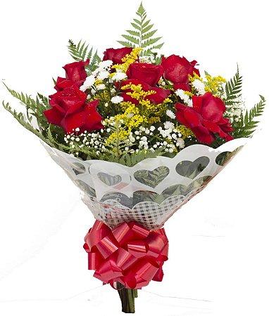 Ramalhete com 6 rosas Abertas