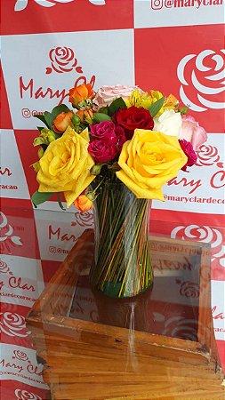 Mix de Rosas no Vaso