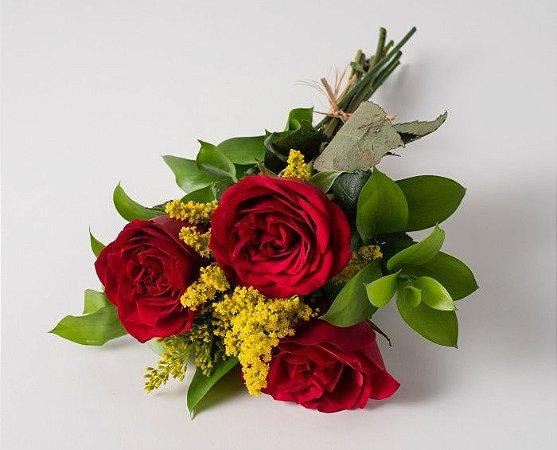 Arranjo c/ 3 rosas vermelhas + tango.
