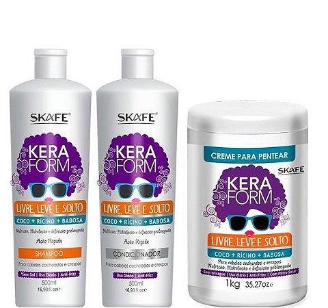 Skafe Keraform Kit Completo Shampoo Cond e Creme Livre, Leve e Solto 3 itens