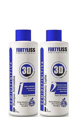 Escova Progressiva Semi Definitiva Sem formol Power 3D 2x1litro