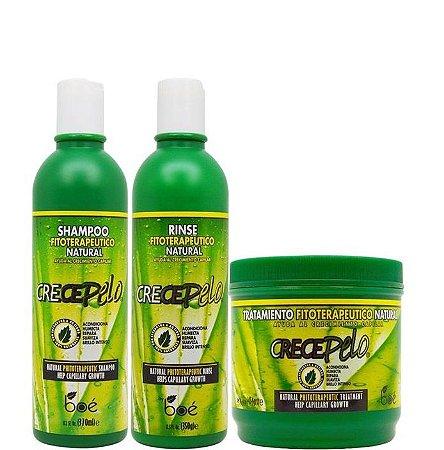 Boé Crece Pelo Kit Shampoo Condicionador e Máscara 454g