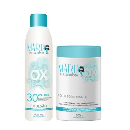 Maria Escandalosa Kit Pó Descolorante 500g + Agua Oxigenada 30 Vol 900ml