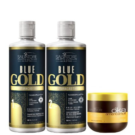 Salvatore Blue Gold Escova Progressiva 2x500ml + Máscara Oka AmericanOil 500g