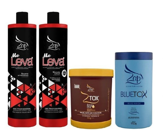 Escova Progressiva Zap Me Leva + Ztox Zap + BlueTox Matizador Zap 950g