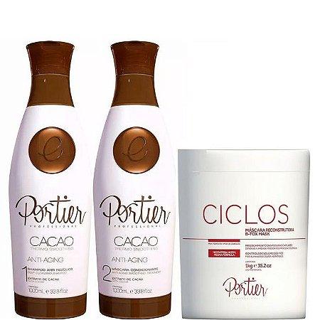 Portier Cacao Escova Progressiva 1L + B.tox Ciclos Portier 1kg + Brinde