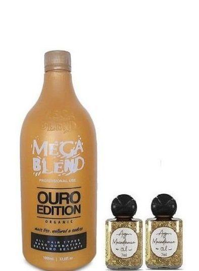Mega Blend Ouro Edition Escova Progressiva Sem Formol 1L + 2 Óleos de Argan