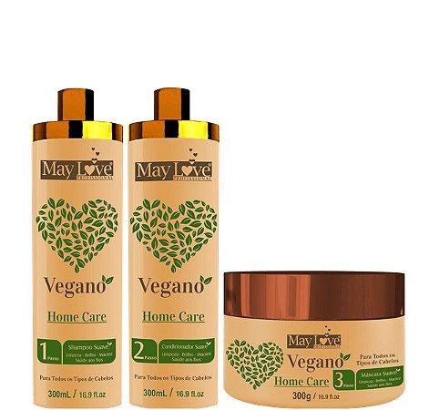 May Love Kit Home Care Shampoo Vegano Condicionador E Máscara 300ml