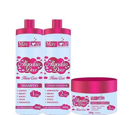 May Love Algodão Doce Home Care Shampoo Condicionador e Máscara 300ml
