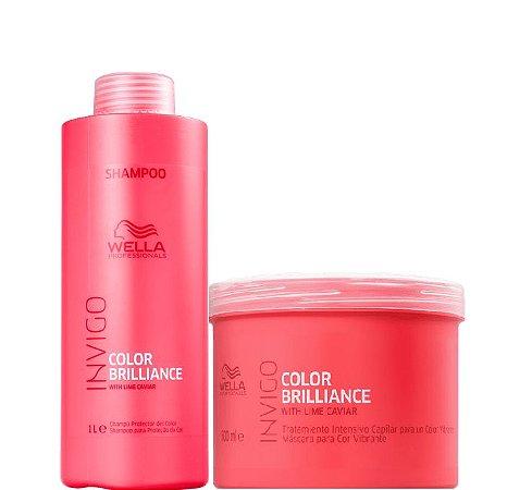 Wella Brilliance Kit Shampoo 1 Litro e Máscara Invigo 500ml