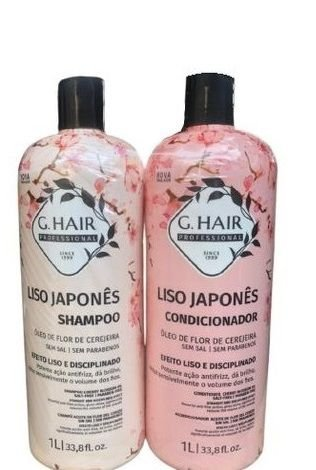 G Hair Liso Japonês Shampoo e Condicionador Tratamento Capilar 1 Litro