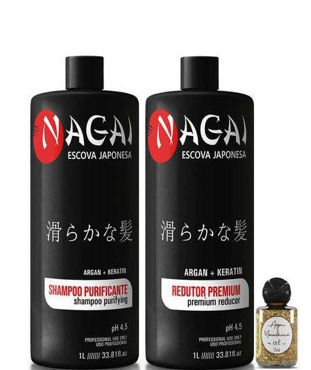 Nagai Escova Progressiva Japonesa Realinhamento Kit 2x1 Litro + Óleo