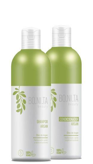 Bonita Beauty Shampoo e Condicionador Argan Vegano 2x1litro