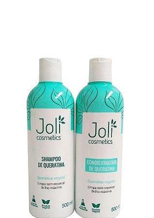 Joli Cosmetics Shampoo e Condicionador de Queratina 2x500ml