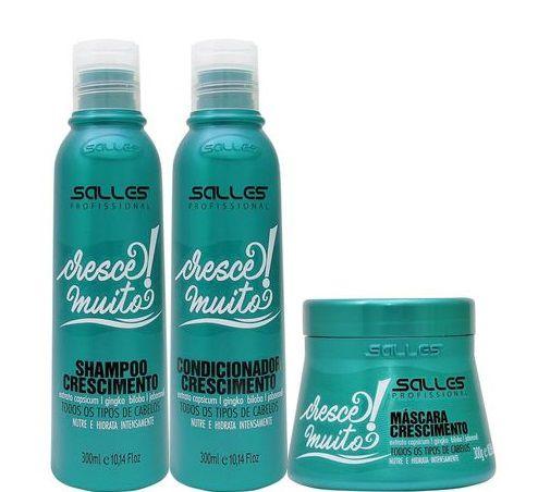 Kit Crescimento Cabelo Cresce Muito Salles Shampoo Cond e Máscara 3x300ml
