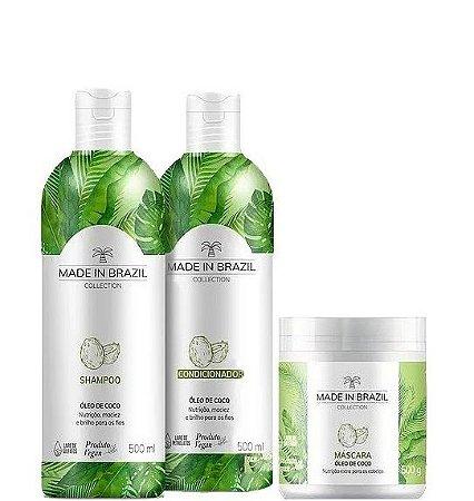 Made in Brazil kit Shampoo, Condicionador e Máscara Óleo de Coco 3x500ml