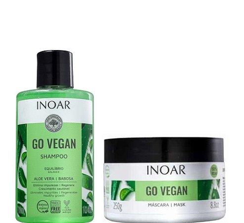 Inoar Go Vegan Shampoo 300ml e Máscara 250g  Aloe Vera e Babosa Crescimento