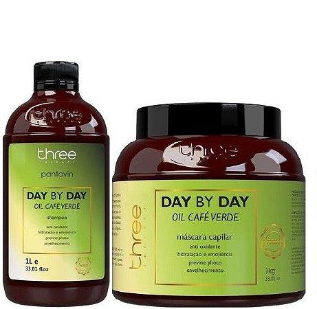 Three Therapy Pantovin Shampoo e Máscara Day By Day Café Verde 2x1L