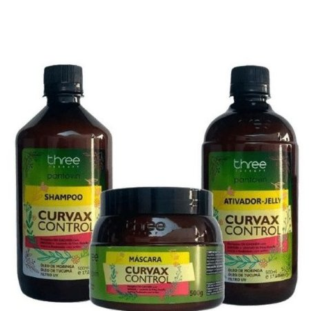 Three Therapy Pantovin Kit Curvax Control Cabelos Cacheados 3 Itens